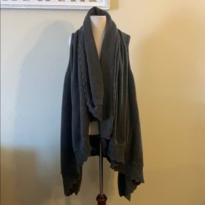 Boutique Gray Oversized Sweater Vest
